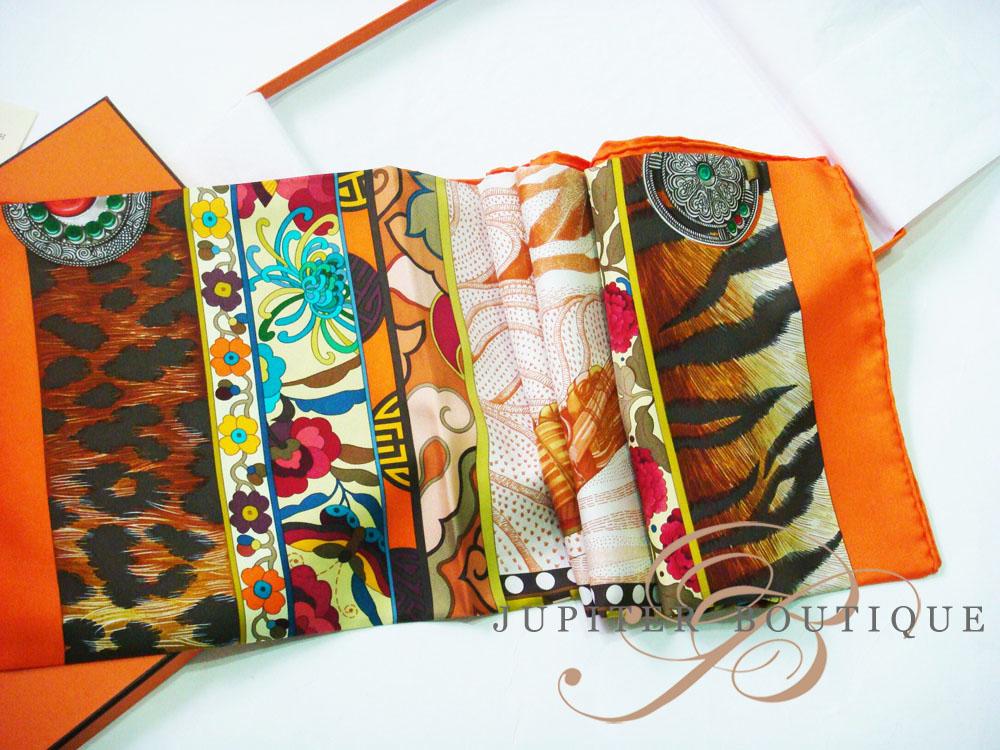 HERMES Carre La Femme Aux Semelles de Vert Orange Silk Scarf - Jupiter  Boutique 86c8df04be7
