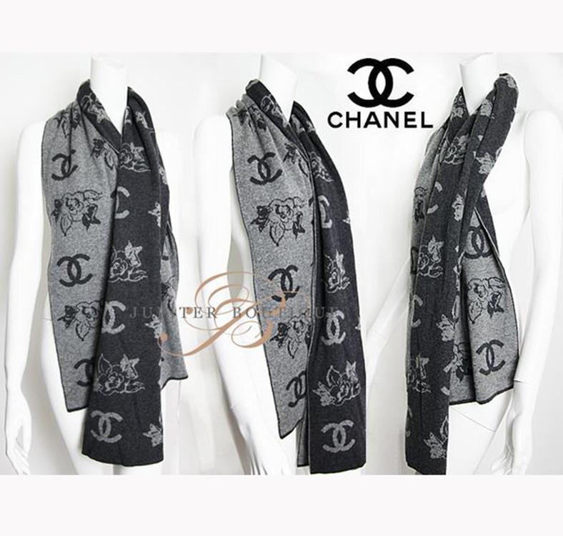 CHANEL Grey CC Logo Floral Print Cashmere Scarf - Jupiter Boutique 28fe60d10dc