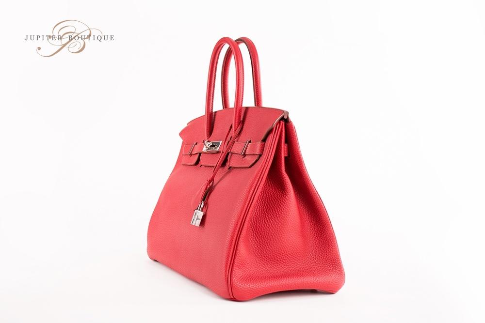 fd5e487505c ... Handbags HERMES Birkin 35CM Rouge Garance Togo Leather Silver Hardware  Year T.   
