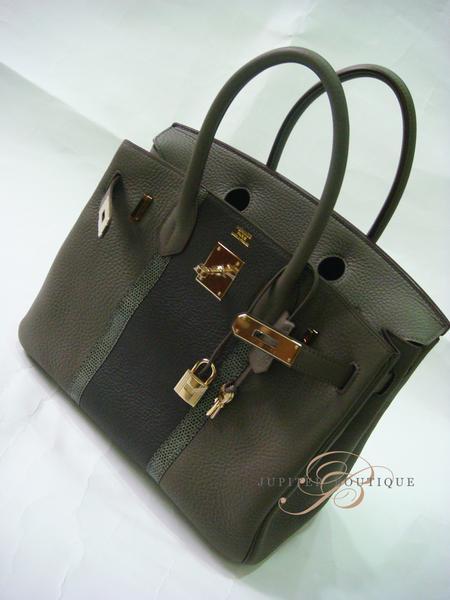 ... HERMES Birkin Club 35CM Etain Grey Tri-color Clemence Lizard Leather P  Year.    ab40e2b248973