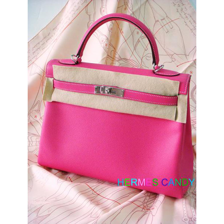 ... Handbags HERMES Candy Series Kelly 35CM Rose Tyrien Epsom Leather  Silver Hardware Year Q.    fd64b487f7a25