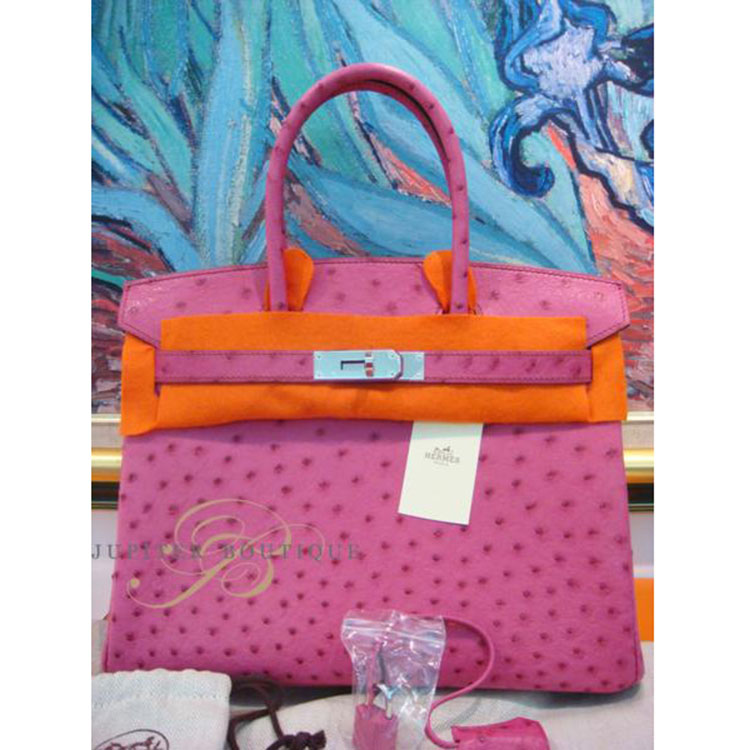 5c21b430f306 ... Handbags HERMES Birkin 30CM Fuchsia Pink Ostrich Leather Silver  Hardware Year K.   