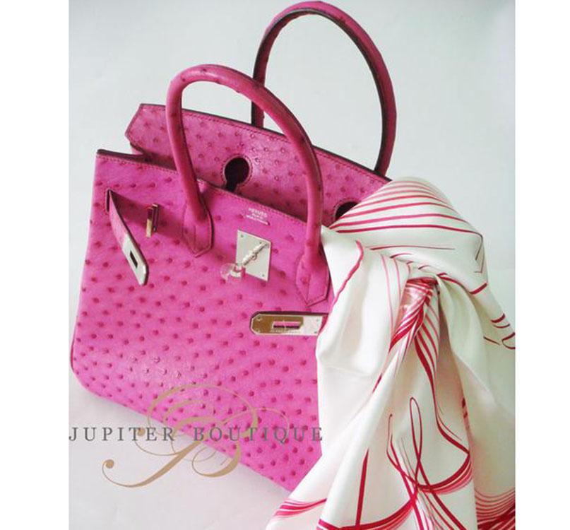... Handbags HERMES Birkin 25CM Fuchsia Pink Ostrich Leather Silver  Hardware Year N.    27b18fbc3f39f
