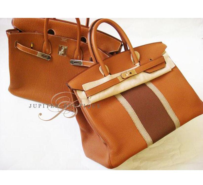 ... Handbags Hermes Club Birkin 35CM Gold Marron   Ficelle Clemence  Leather Lizard Skin Year P.    a12a154adeca6