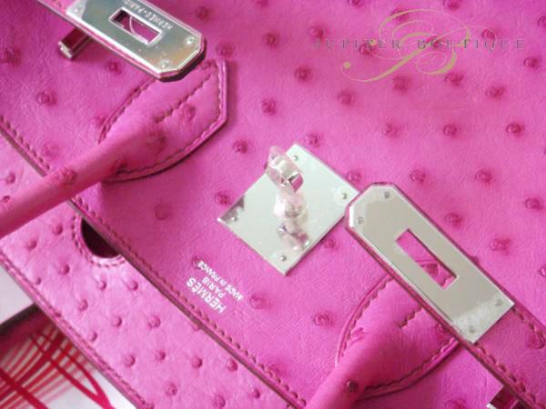 ... Handbags Hermes Birkin 25CM Fuchsia Pink Ostrich Leather Silver  Hardware Year O.    cb2f67599abb0