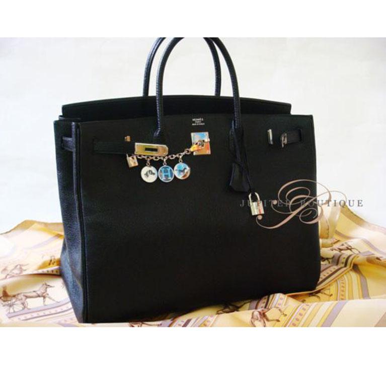8506be6eb96a ... Handbags HERMES Birkin 30CM Black Clemence Leather Silver Hardware R  Year.   