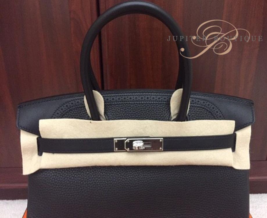 401f3b10fcab ... Handbags HERMES Birkin 30CM Black Togo Swift Leather Silver Hardware  Year R.   