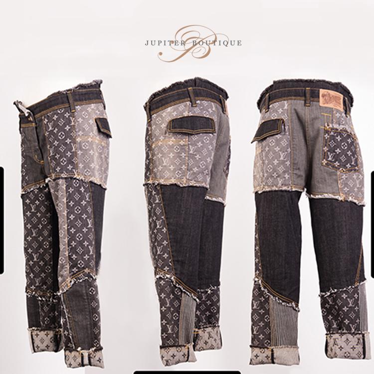 1977fcbd657 ... Clothes Shoes LOUIS VUITTON Black Denim Monogram Patchwork Midi-length  Jeans.   