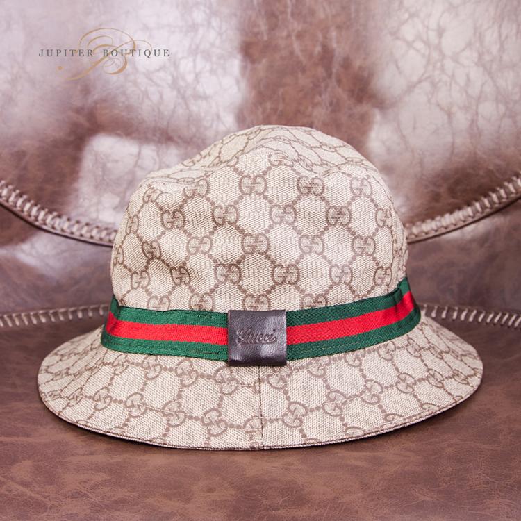 bf95f7ae3a6 GUCCI GG Signature Beige Fedora Bucket Hat L - Jupiter Boutique