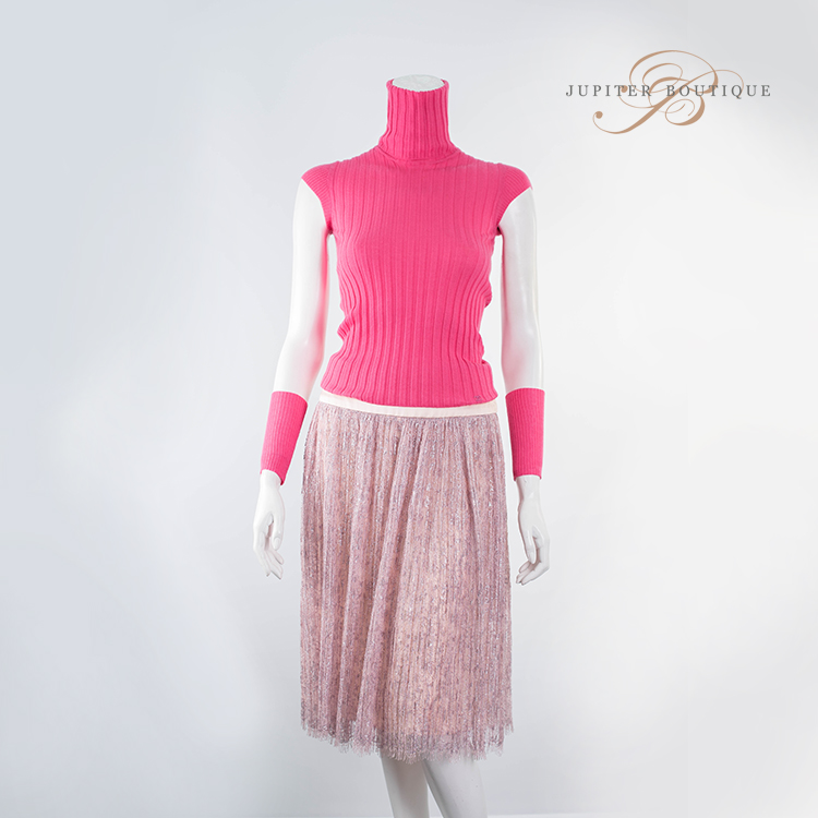 28232530cbea15 ... Clothes Shoes CHANEL Pink Sleeveless Turtleneck Cashmere Top with Wrist  Knit Band.   