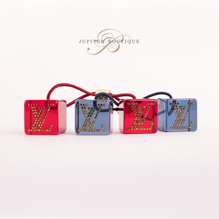 50c5795973b LOUIS VUITTON Red Blue Logo Hair Cube Set