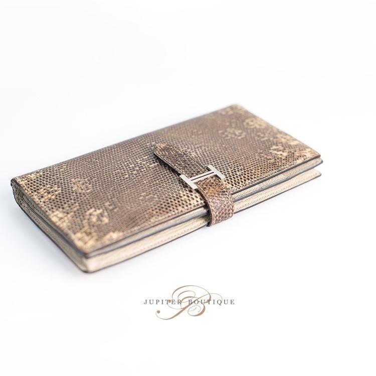 27642c49750a ... Wallets HERMES Bearn Souffle Wallet Lizard Ombre Silver Hardware.   
